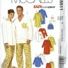 McCalls 5511 Men, Misses, Dog Sleepwear Sewing Pattern Size XS, S, M