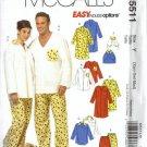 McCalls 5511 Men, Misses, Dog Sleepwear Sewing Pattern Size XS, S, M