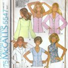 McCalls 5547 Misses 70s Tops, Cardigan Sewing Pattern Size 12