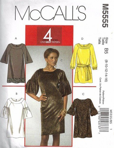 Misses Dress Sewing Pattern McCalls 5555 Size 8, 10, 12, 14, 16