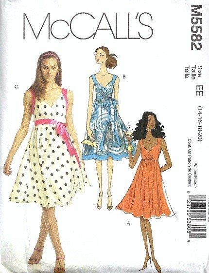 Misses Halter Dress Sewing Pattern McCalls 5582 Size 14, 16, 18, 20
