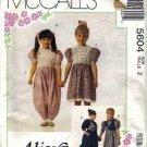 McCalls 5604 Girls Alicyn Dress, Jumpsuit Sewing Pattern Size 2