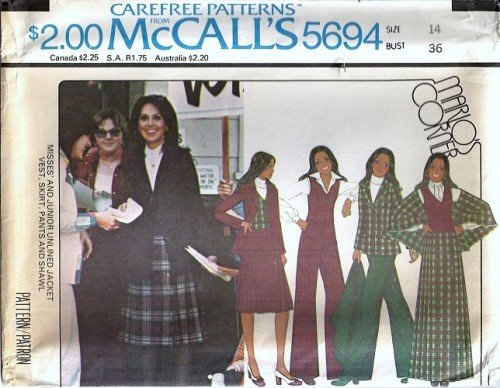 McCalls 5694 Misses Jacket Skirt Shawl Vintage Sewing Pattern Sz 14