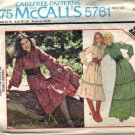 McCalls 5761 Misses 70s Prairie Dress Sewing Pattern Size 14, 16