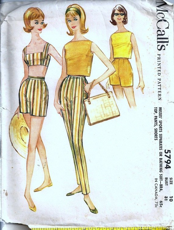 McCalls 5794 Misses Bra Top Swimsuit, Shorts, Pants 60s Vintage Sewing Pattern Size 10