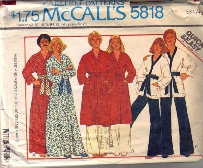 McCalls 5818 Men, Misses Wrap Robe, Jacket, Pants Sewing Pattern Sz XL