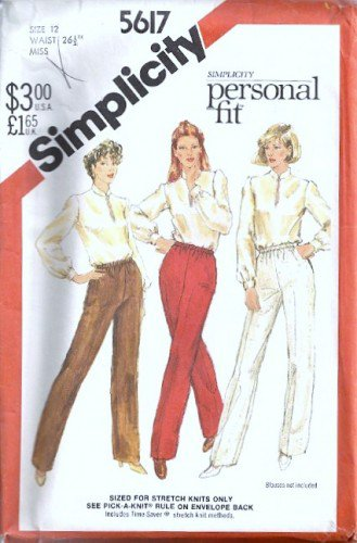 Simplicity 5617 Misses Proportioned Pants Sewing Pattern Size 12