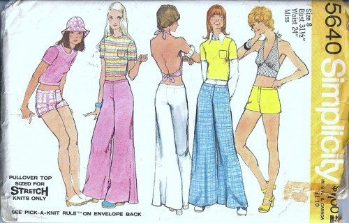 Simplicity 5640 Misses Halter Pants Shorts 70s Sewing Pattern Size 8