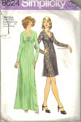 Misses 70s Evening, Day Dress Sewing Pattern Simplicity 6024 Junior Size 9