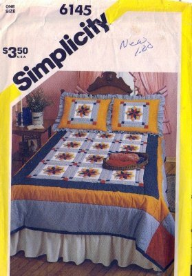 Simplicity 6145 Star Patchwork Quilt, Pillow Sham Quilt Pattern