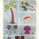 Simplicity 6198 Embroidery Design 70s Transfer Mushroom, Bird, Flowers