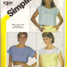 Misses 80s Cropped Tops Sewing Pattern Simplicity 6328 Size 12