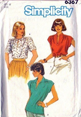Simplicity 6367 Misses 80s Pullover Blouse Sewing Pattern Size 16