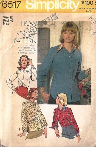 Misses Blouse 70s Vintage Sewing Pattern Simplicity 6517 Size 18