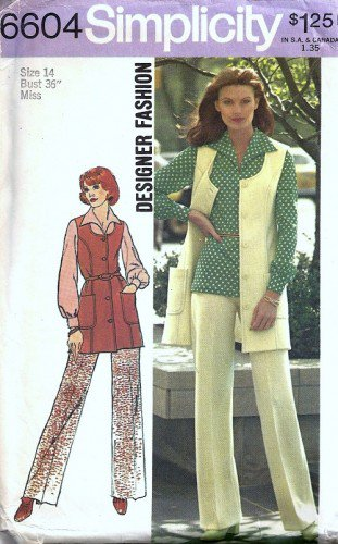 Simplicity 6604 Misses Vest Pants Blouse 70s Sewing Pattern Size 14