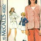 McCall's 4982 Girls Jacket, Skirt, Pants Vintage Sewing Pattern Sz 12