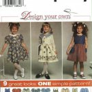 Girls 9 Looks Dress Sewing Pattern Size 3, 4, 5, 6 Simplicity 7097