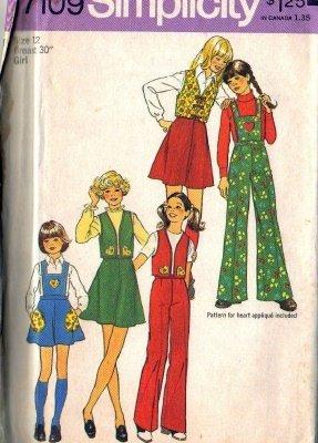 Simplicity 7109 Girls Skirt, Pants, Bib, Vest Sewing Pattern Size 12