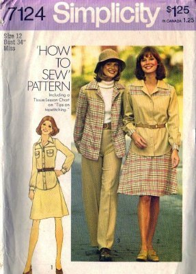 Simplicity 7124 Misses 70s Pants, Shirt, Skirt Sewing Pattern Size 12