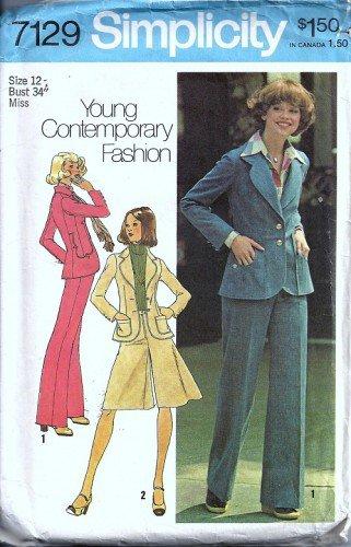 Simplicity 7129 Misses Jacket, Pantskirt, Pants Sewing Pattern Size 12