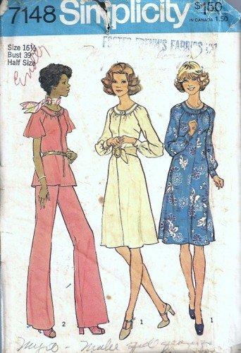 Simplicity 7148 Misses Dress Top Pants Vintage Sewing Patter Sz 16 1/2