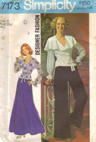 Simplicity 7173 Misses 70s Wrap Top, Skirt, Pants Sewing Pattern Sz 10