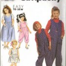 Simplicity 7195 Girls Sundress, Jumper, Jumpsuit Sewing Pattern 2, 3, 4, 5, 6, 6X