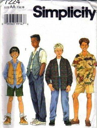 Simplicity 7224 Boys Shirt, Vest, Pants Sewing Pattern Sz 7, 8, 10