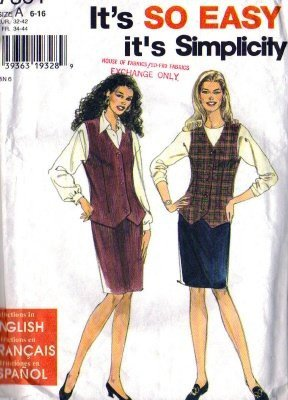 Simplicity 7301 Misses Slim Skirt, Vest Sewing Pattern Size 6, 8, 10
