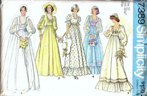 Simplicity 7389 Misses Bridal Dress 70s Vintage Sewing Pattern Size 10