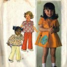 Girls 70s Dress, Top, Pants Sewing Pattern Simplicity 7604 Size 3