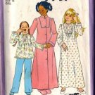 Girls Robe, Nightgown, Pajamas Sewing Pattern Simplicity 7731 Size 12
