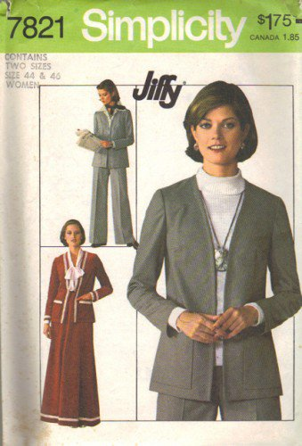 Misses Jacket Skirt Pants Sewing Pattern Size 44, 46 Simplicity 7821