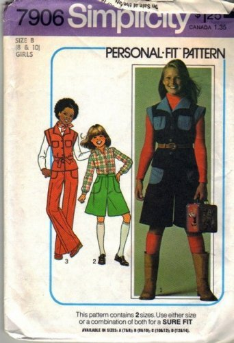 Girls 70s Top Pantskirt Pants Sewing Pattern Sz 8, 10 Simplicity 7906