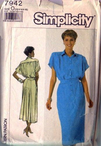 Simplicity 7942 Misses 80s Dress Vintage Sewing Pattern Size 12, 14