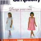 Simplicity 7987 Girls Design Your Own Dress Sewing Pattern Size 3