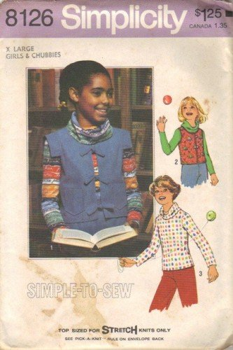 Simplicity 8126 Girls 70s Cowl Top, Vest Sewing Pattern Size XL