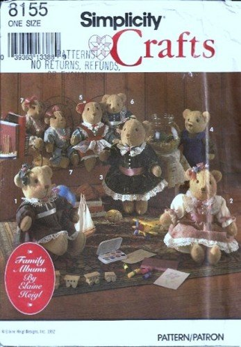 Simplicity 8155 Boy Girl Bear With Clothing Sewing Pattern