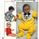 Simplicity 8264 Baby Mickey Mouse Bib, Sleeper Sewing Pattern Sz 12Mos