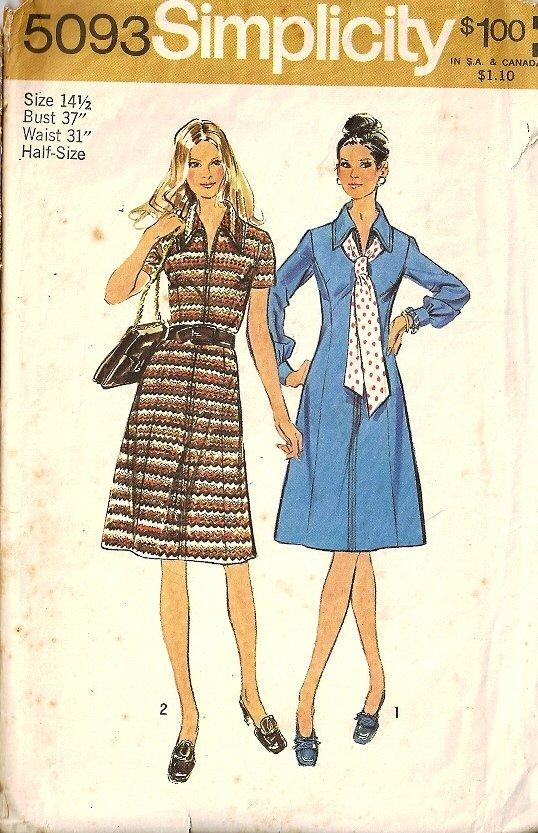 Simplicity 5093 Misses Princess Dress Vintage Sewing Pattern 14 1/2