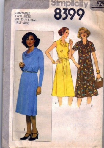 Simplicity 8399 Cowl Neck Dress Sewing Pattern Size 22 1/2, 24 1/2