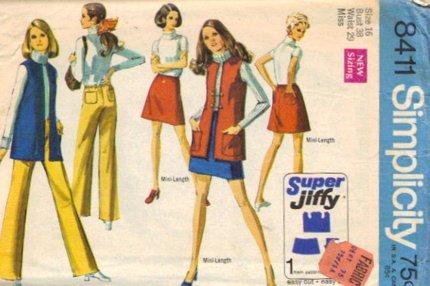 Simplicity 8411 Misses Skirt Vest Hip Hug Pants Sewing Pattern Size 16