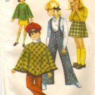 Simplicity 8425 Girls 60s Poncho, Skirt, Pants Sewing Pattern Size 14