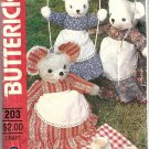 Butterick 431 Rabbit, Mouse, Bear, Clothes Pajama Bag Sewing Pattern