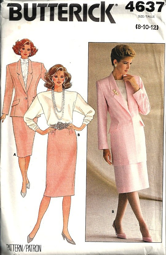 Butterick 4637 Misses Jacket, Skirt, Top Sewing Pattern Size 8, 10, 12