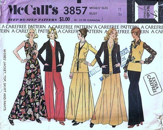 McCalls 3857 Misses Jacket Top Skirt Pants Vtg Sewing Pattern Sz 12