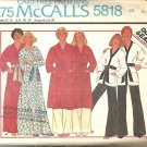 McCalls 5818 Men, Misses Wrap Robe, Jacket, Pants Sewing Pattern Sz XL