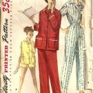 1955 Simplicity 1325 Miss Pajamas Vintage Sewing Pattern Size 14 Bust 32