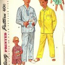 Simplicity 1434 Boys Long, Short Pajamas Vintage Sewing Pattern Size 12