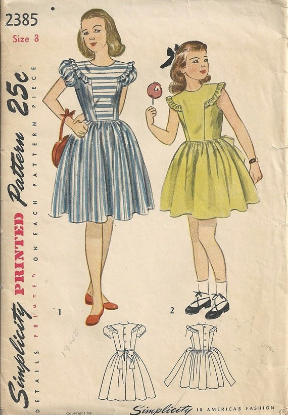 Simplicity 2385 Girls Dress, Sundress 40s Vintage Sewing Pattern Size 8 Chest 26 Uncut